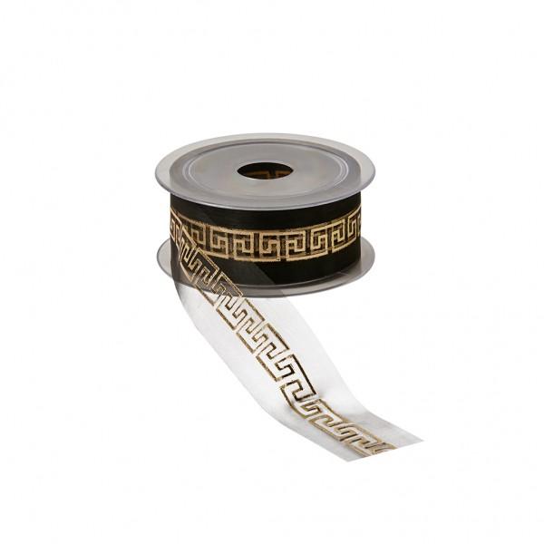 Florband schwarz - Meander gold