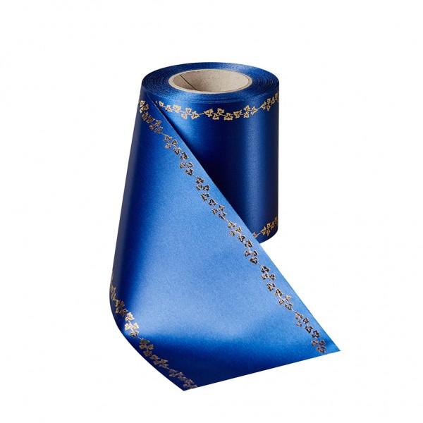 enzianblau Super-Satin mit Efeurand gold