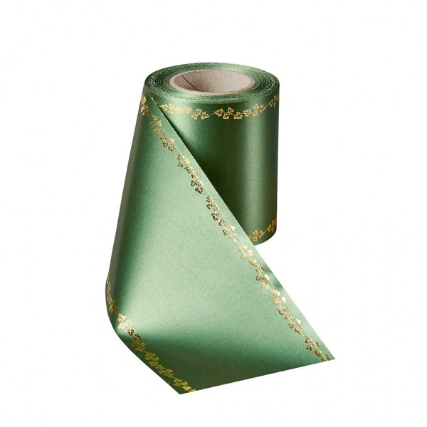 grass green Super Satin with ivy border gold