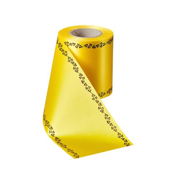 gelb Super-Satin mit Efeurand schwarz